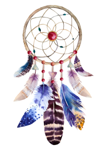 Watercolor dreamcatcher with beads and feathers. Illustration fo