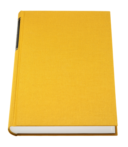 Yellow book isolated on white, black frame for title on the spin